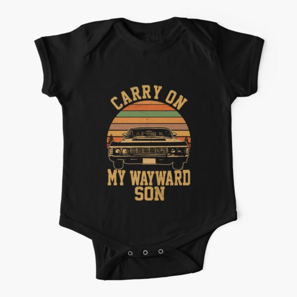 Carry on my Wayward Son, supernatural Vintage sunset distressed style child bodysuit Short Sleeve Baby One-Piece