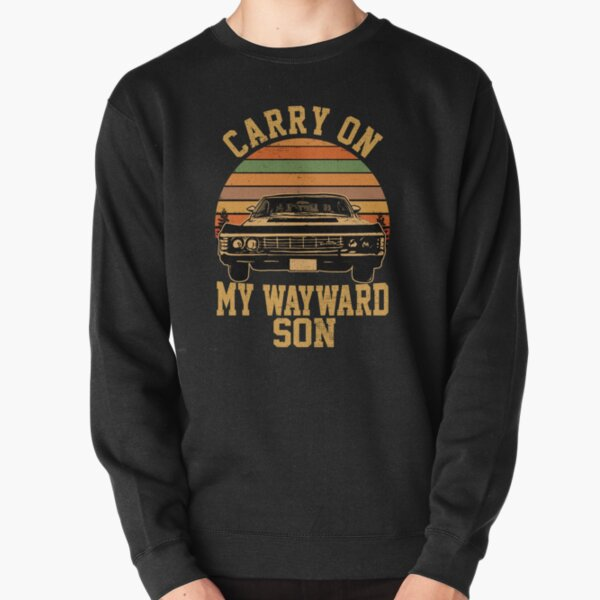 Carry on my Wayward Son, supernatural Vintage sunset distressed style child bodysuit Pullover Sweatshirt