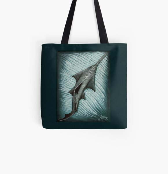 """""""Sawfish"""" by Amber Marine ~ Acrylic painting, art © 2015 All Over Print Tote Bag"""
