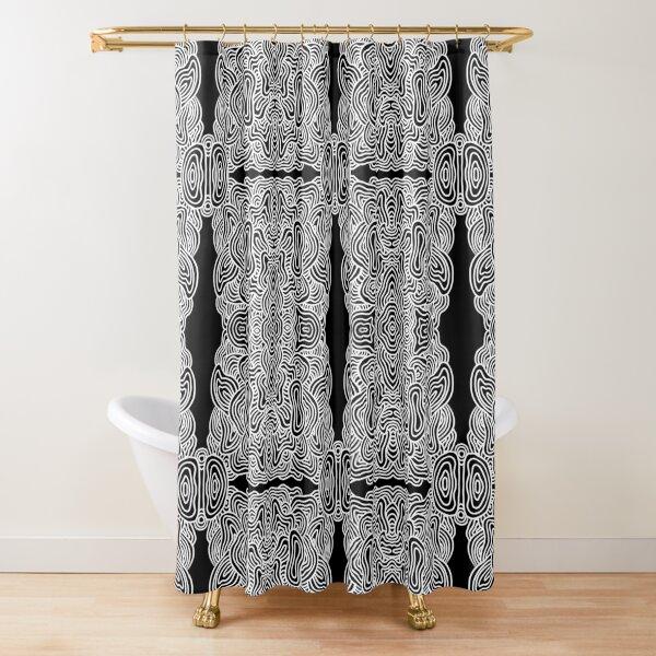 Monochrome Kaleidoscope Shower Curtain