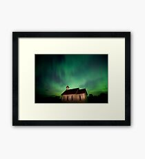 Country Church and Northern Lights Framed Print