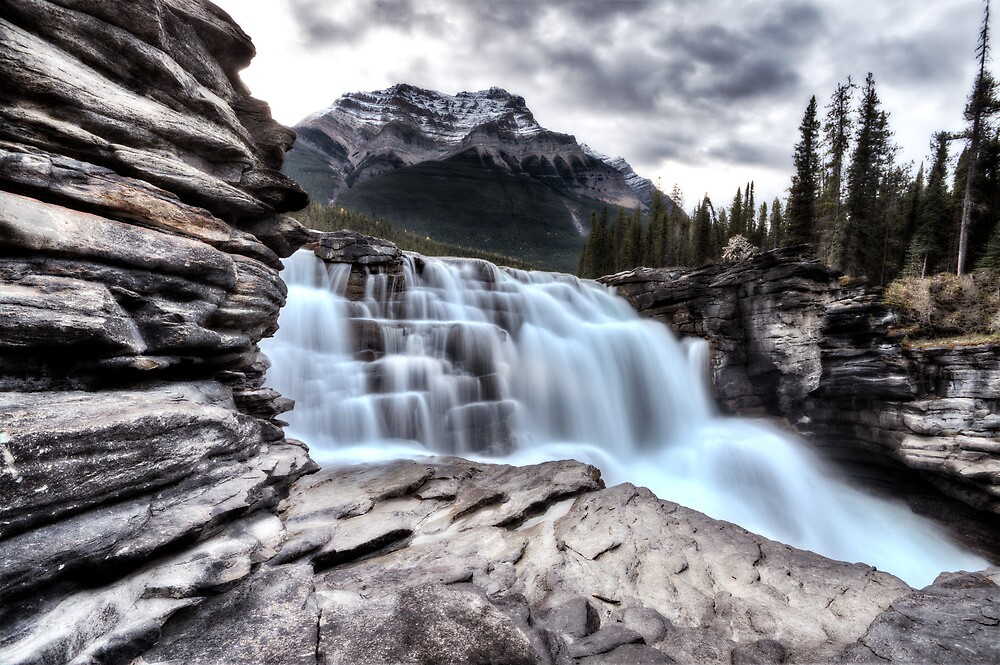 Athabasca Waterfall Alberta Canada river flow and blurred water by pictureguy