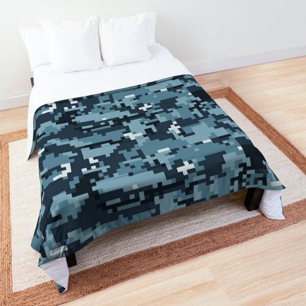 Navy Blue Digital Camouflage Comforter