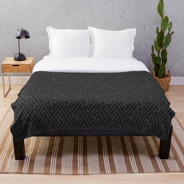 Traditional Japanese Sayagata Geometric Pattern in Greyscale/Black and Grey Throw Blanket