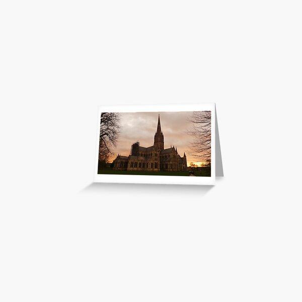 Sunset at Salisbury Cathedral Greeting Card