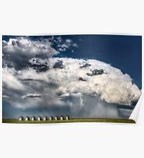 Prairie Road Storm Clouds Saskatchewan Canada field metal granaries Poster