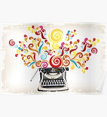 Creativity - typewriter with abstract swirls Poster