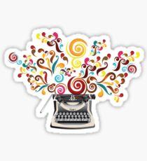 Creativity - typewriter with abstract swirls Sticker