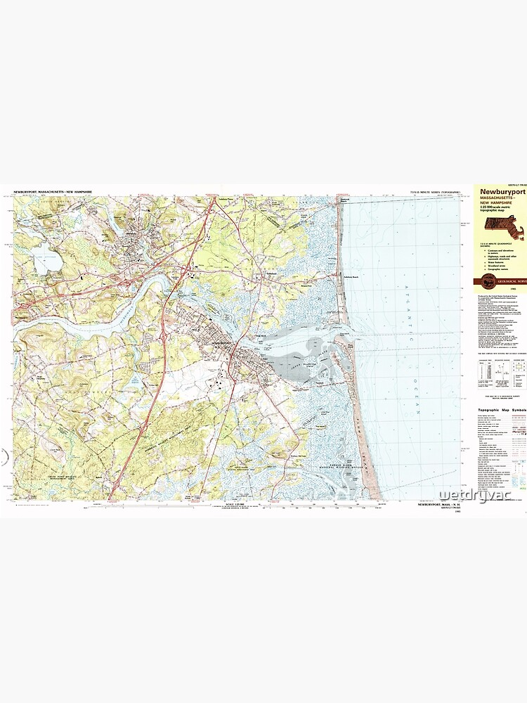 Massachusetts  USGS Historical Topo Map MA Newburyport 353171 1985 25000 by wetdryvac