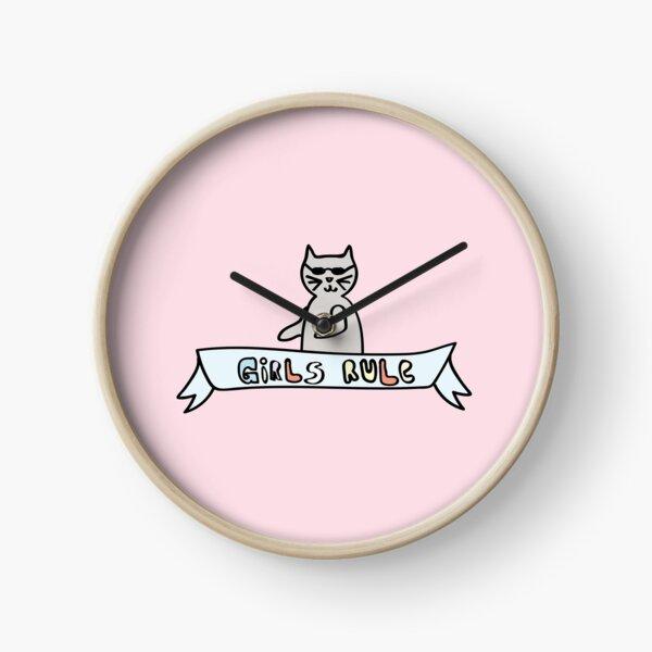 Girls Rule Cool Cat / Feminism in Pastels Clock