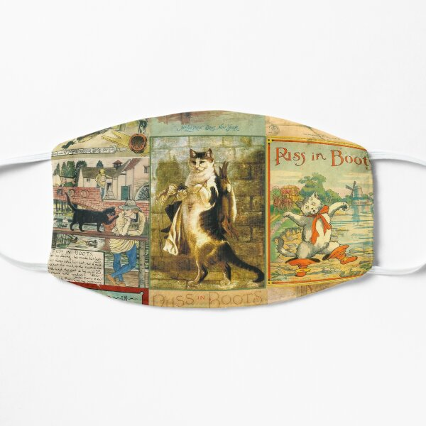 Vintage Puss in Boots Christmas Montage Flat Mask