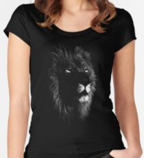 africa lion, lion black shirt Women's Fitted Scoop T-Shirt