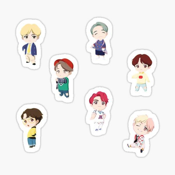 Juego de personajes BTS TinyTan OT7 Pegatina