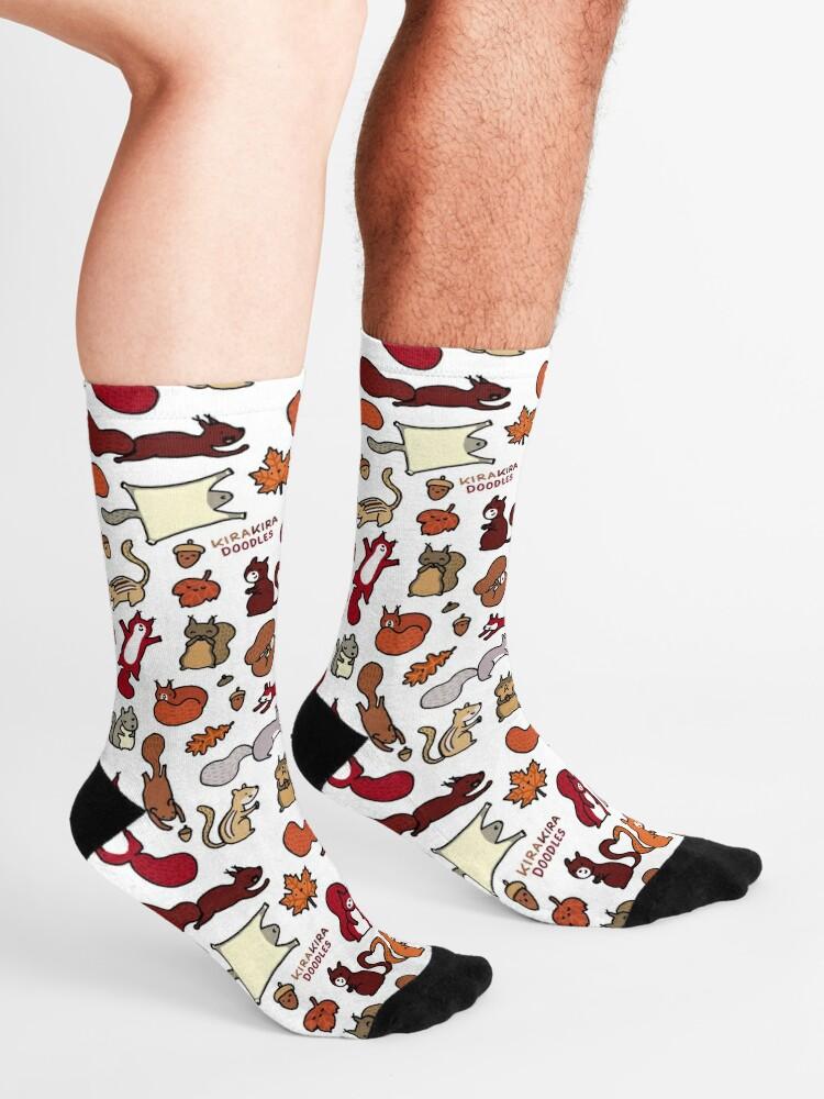 Alternate view of Squirrels in Fall Doodle Socks