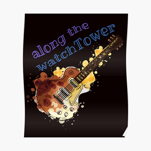 Water Color Guitar Watchtower Psych Design for Rock and Roll Lovers Poster