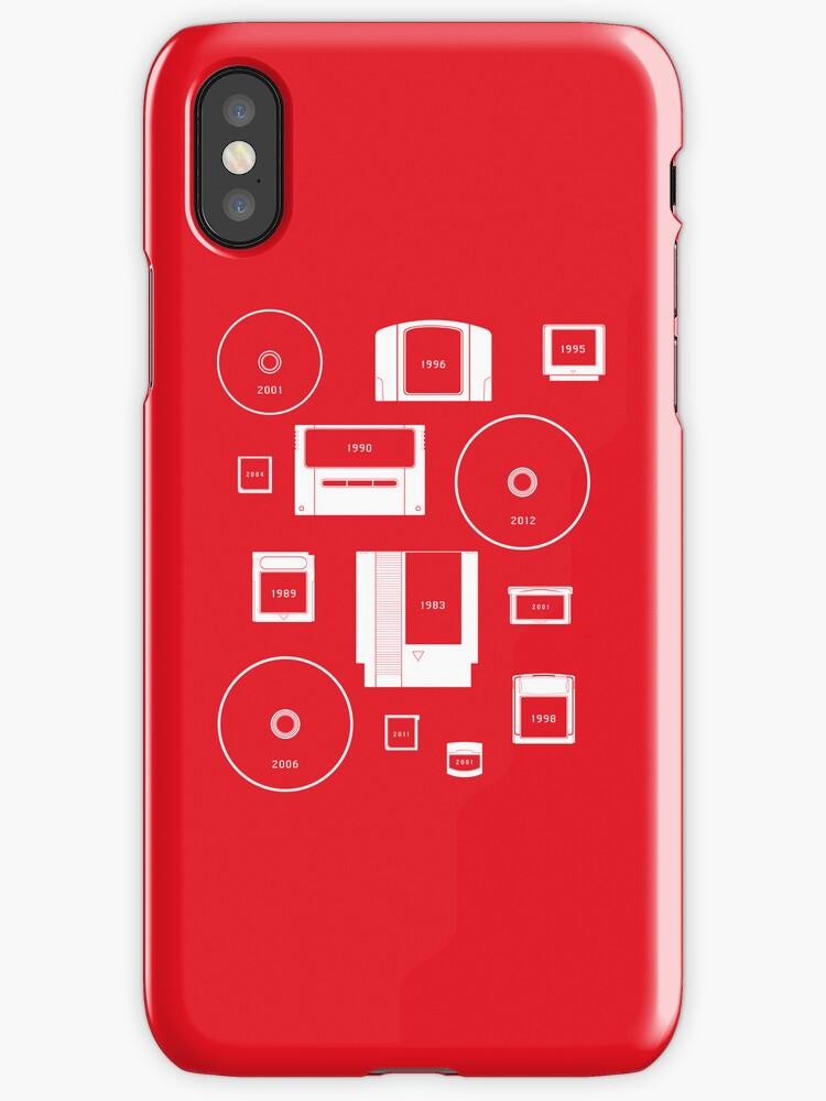 History of Nintendo Media 1989-2012 (iPhone case Red) by Jarmez
