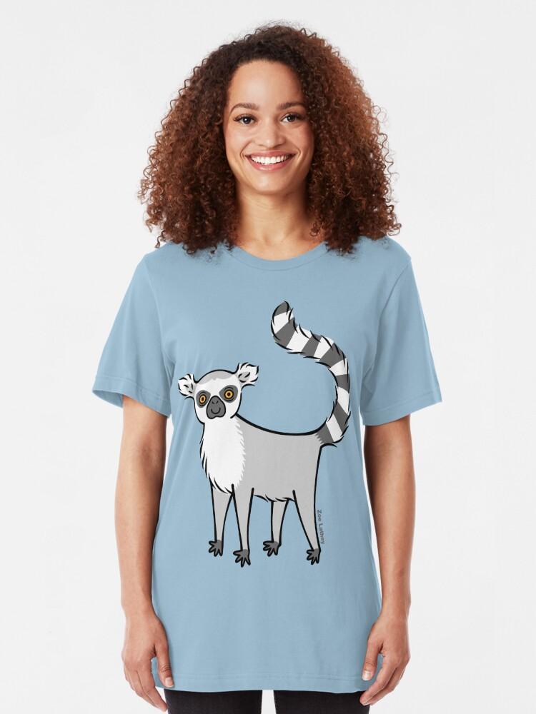 Alternate view of Ring Tailed Lemur Slim Fit T-Shirt