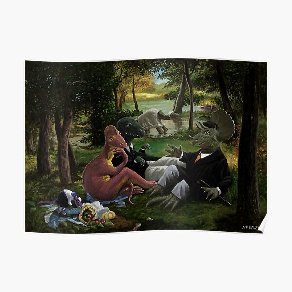 The Luncheon on the Grass with dinosaurs Poster