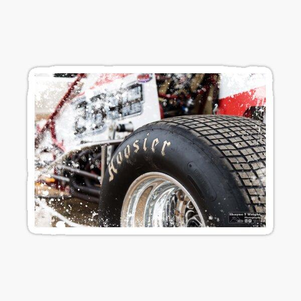 Hoosier Sprint car tire on show. Sticker