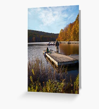 Sittin on the dock of the... lake Greeting Card
