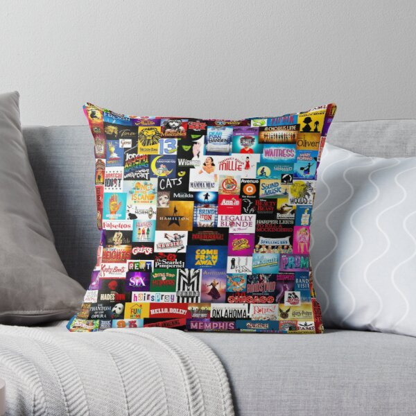 Broadway Show Logo Collage Throw Pillow