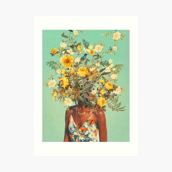 Du liebst mich mit Sommerblumen Kunstdruck