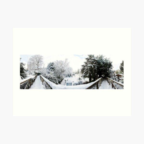 Footbridge Across a Winter Wonderland Art Print