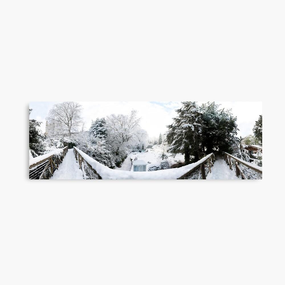 Footbridge Across a Winter Wonderland Canvas Print