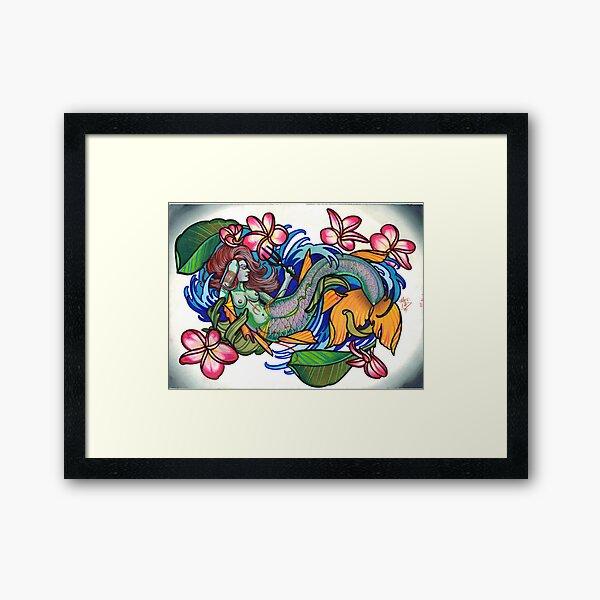 mermaid with plumeria. Framed Art Print