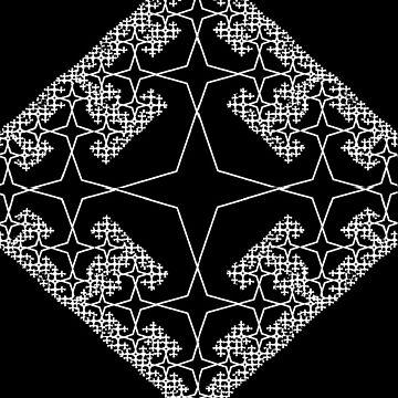 Diamond Fractal White on Black by facingthewindow