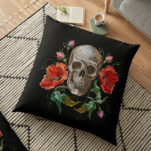 Human skull and red poppies flowers Floor Pillow