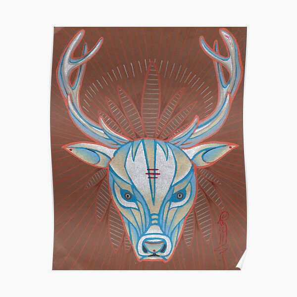 blue elk totem spirit animal. Poster
