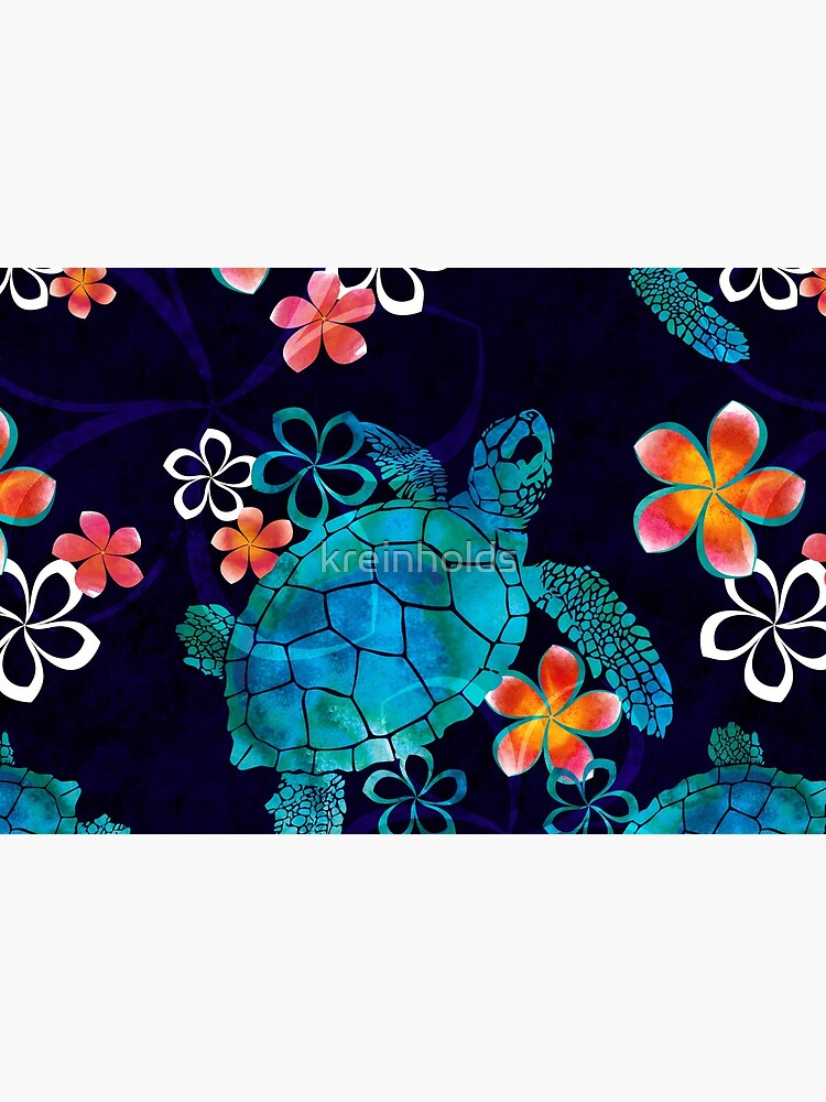 Sea Turtle with Flowers by kreinholds