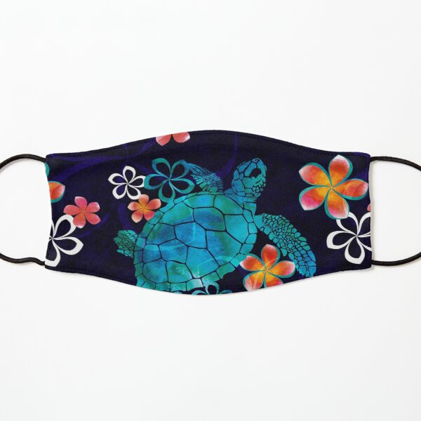 Sea Turtle with Flowers Kids Mask