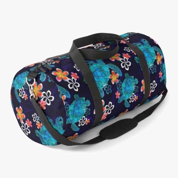 Sea Turtle with Flowers Duffle Bag