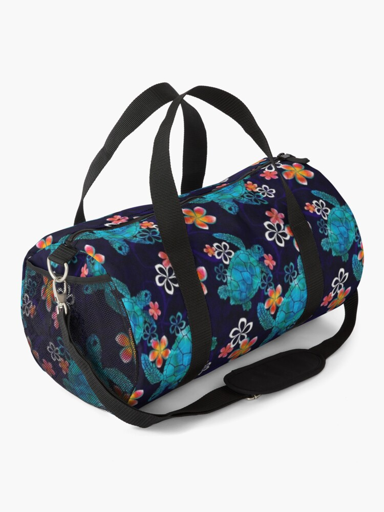 Alternate view of Sea Turtle with Flowers Duffle Bag