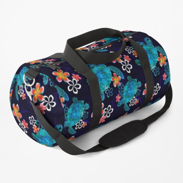 Sea Turtle with Flowers Duffle Bag