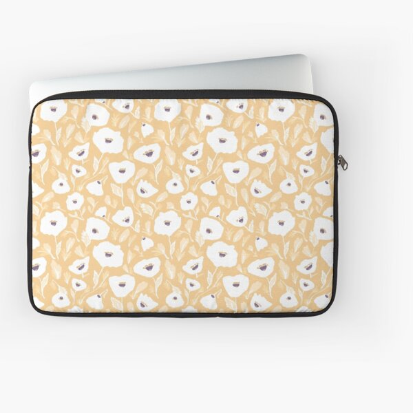 White and Mustard Floral Laptop Sleeve