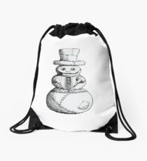 Steam Punk Robot Snowman Drawstring Bag
