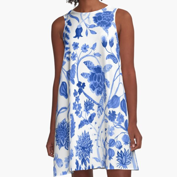 Blue Chinoiserie   Blue and White Floral    Blue Toile  A-Line Dress