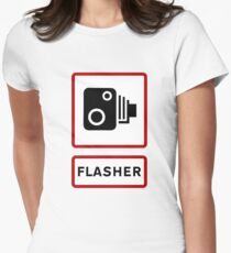 Caution - Flasher! Womens Fitted T-Shirt