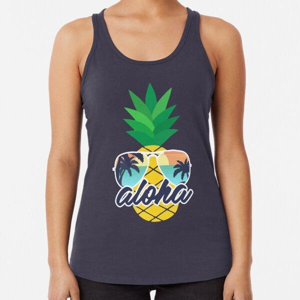 Aloha Pineapple with Sunglasses Racerback Tank Top