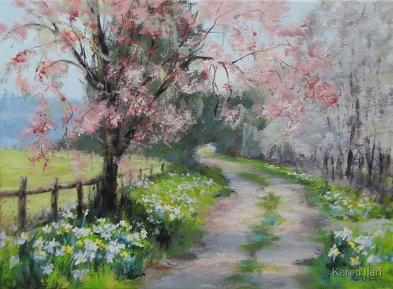 """Original Acrylic Landscape Painting - Spring Walk"" by ..."