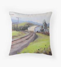 Original Plein Air Landscap Painting - Along the Tracks Throw Pillow