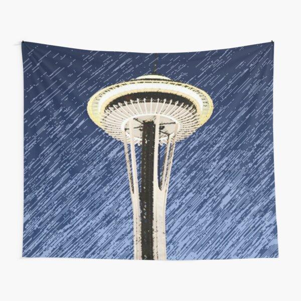Seattle Space Needle rainy Night Tapestry
