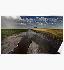 Prairie Road Storm Clouds Saskatchewan Canada field Poster