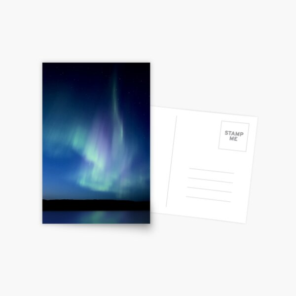 Northern Lights Saskatchewan Canada Aurora Borealis Lake Reflection Postcard