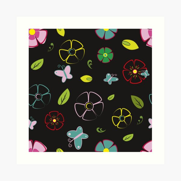 Garden flowers on black Art Print