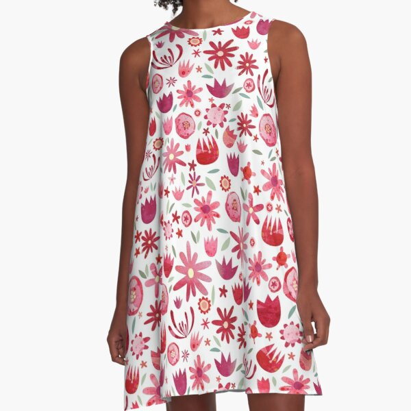 Summer Flowers Watercolor A-Line Dress