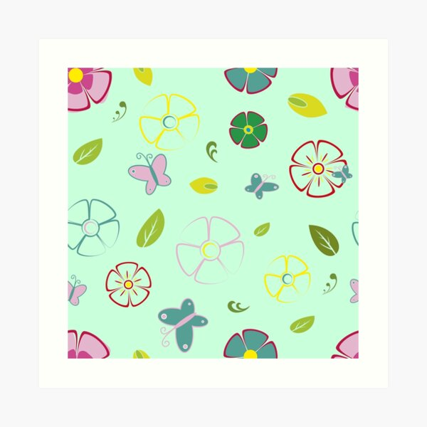 Garden flowers on green Art Print
